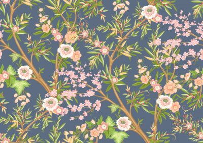 Papiers peints Floral seamless pattern in chinoiserie style. Vector illustration.