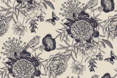 Papiers peints Floral seamless pattern with garden flowers peonies, bird and butterflies.