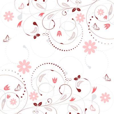 Papiers peints Floral, vecteur, fond, vendange, fleur, modèle, papillons