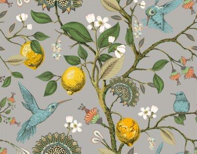 Papiers peints Floral vector seamless pattern. Botanical wallpaper. Plants, birds flowers backdrop. Drawn nature vintage wallpaper. Lemons, flowers, hummingbirds, blooming garden. Design for fabric, textile, paper