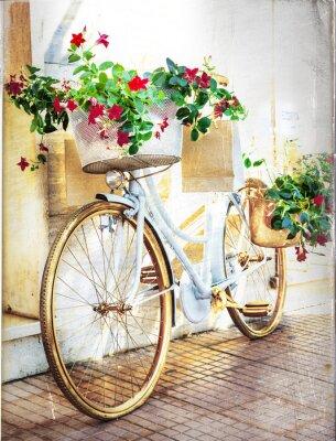 Papiers peints floral vélo - carte vintage
