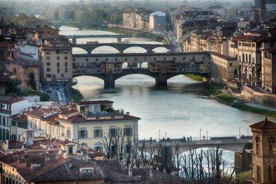 Papiers peints Florence Ponte Vecchio coucher de soleil