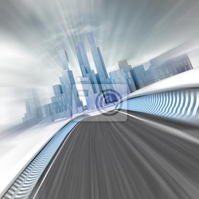 floue presque rue menant à la ville de gratte-ciel moderne rendre