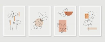 Papiers peints Flower and bird wall art vector set. Earth tone boho foliage flower line art drawing with  bird and butterfly.  Abstract Plant Art design for print, cover, wallpaper, Minimal and  natural wall art..