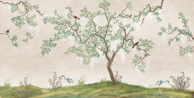 Papiers peints Flowering tree in the Japanese garden with birds. Fresco, Wallpaper for interior printing.