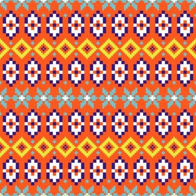 Folk geometric seamless pattern colorful pixelated shapes texture.