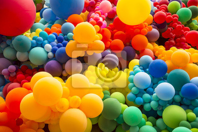 Papiers peints Fond abstrait lumineux de fouillis de ballons de couleur arc-en-ciel célébrant la fierté gay