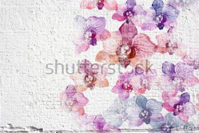 Papiers peints Fond blanc abstrait blanc. Texture de mur avec des fleurs aquarelles colorées.