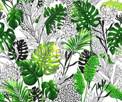 Papiers peints Fond botanique avec des feuilles de palmier tropical. Modèle vectorielle continue dans un style branché hawaïen.