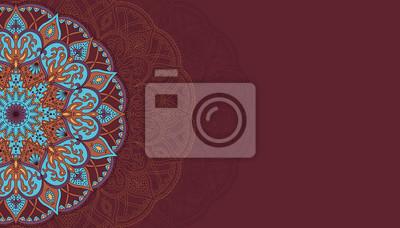 Fond Brun Horizontal Avec Motif Rond Oriental Illustration