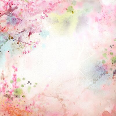 Fond d'aquarelle Scenic, composition florale Sakura