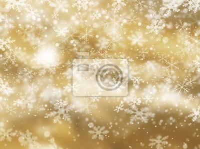 Fond d'or de la chute des flocons de neige