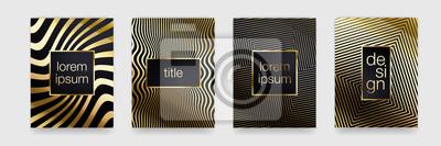 Fond de luxe or. Texture de la ligne dorée géométrique. Ensemble de modèles de bannière affiche vecteur
