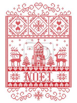 Fond de Noël scandinave Vector élégant, modèle de Noël de style nordique, y compris flocon de neige, coeur, renne, arbre de Noël, neige, flocon de neige, chapelle au pays des merveilles de l'hiver en