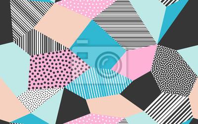 Fond de patchwork abstrait d'illustration de patch vectoriel de formes giclées points, lignes et traits
