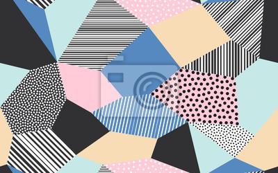 Fond de patchwork abstrait d'illustration de patch vectoriel de giclées points, lignes et traits