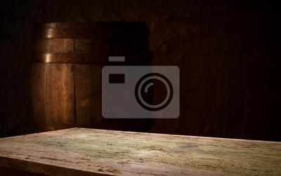 fond de tonneau et vieille table en bois usée