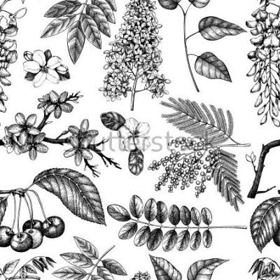Papiers peints Fond de vecteur avec illustration d'arbres floraison dessinés à la main. Collection de croquis de fleurs de printemps. Motif floral sans soudure