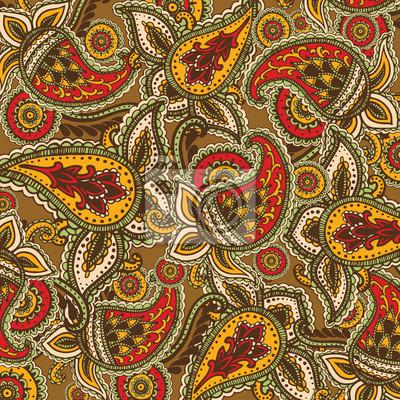 Fond décoratif Hand-Drawn henné Mehndi Résumé Mandala fleurs et Paisley Doodle illustration vectorielle éléments de conception