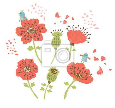 Fond floral avec des oiseaux