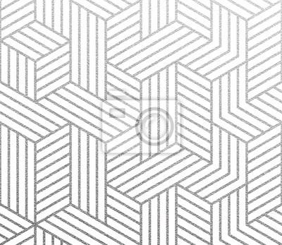 Fond géométrique avec motif abstrait de cubes 3D linéaires. Texture de feuille d'argent de vecteur avec motif scintillant linéaire sur blanc