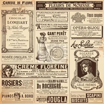 Papiers peints fond / modèles en annonces français vintage sur les sujets de dames