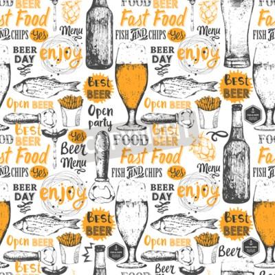 Papiers peints Fond sans soudure avec bière ensemble. Menu de pub. Bouteille, verre, bière, croquis, style Vector illustration avec des étiquettes de bière.