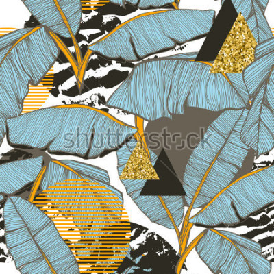 Papiers peints Fond transparent avec des feuilles de bananier