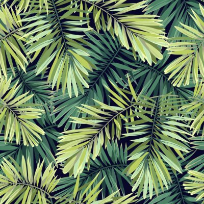 Papiers peints Fond vert vif avec des plantes tropicales. Seamless, vecteur, exotique, modèle, phénix, paume, feuilles