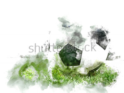Papiers peints Football coloré abstrait sur l'herbe verte sur fond de peinture illustration aquarelle.
