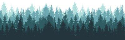 Papiers peints Forest background, nature, landscape. Pine, spruce, christmas tree. Fog evergreen coniferous trees. Silhouette vector