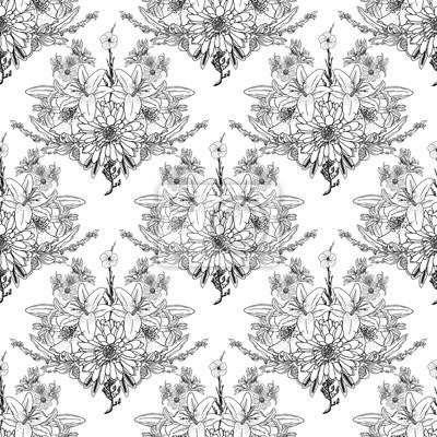 Coloriage Adulte Foret.Papiers Peints Foret De Fleurs Noir Et Blanc Pour La Coloration Dessin Fleuri