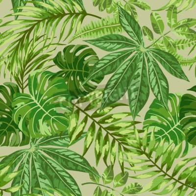 Papiers peints Forme exotique sans couture avec des feuilles tropicales sur un fond beige. Illustration vectorielle.