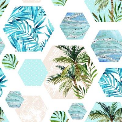 Papiers peints Forme hexagonale géométrique abstraite en été, motif transparent