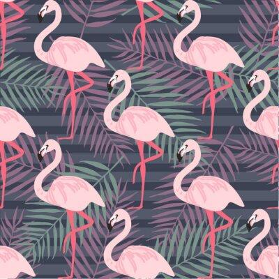 Papiers peints Forme tropicale moderne à la mode avec des flamants roses, des ananas, des feuilles tropicales. Fond de plage. Paradis tropical