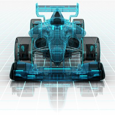 Papiers peints formula car technology wireframe sketch front view