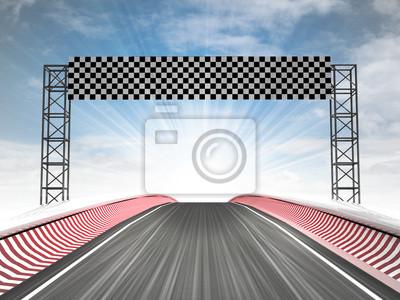 Formula Racing vue de la ligne d'arrivée avec ciel