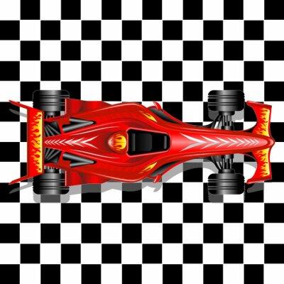 Papiers peints Formule 1 Red voiture de course sur fond à carreaux
