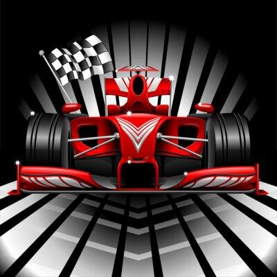 Papiers peints Formule 1 voiture de course et d'un drapeau à damier