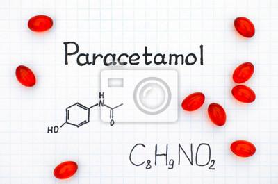 1d02d761ed75 Formule chimique du paracétamol et des pilules rouges. papier peint ...
