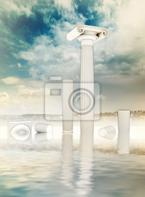 fou ruiné colonnes dans le style ionien grec dans l'eau