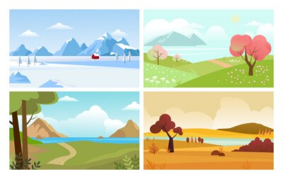 Papiers peints four seasons backgrounds. summer winter autumn spring nature landscape with trees leaves grass and snow mountain. vector