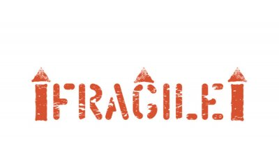 Fragile Stamp imprint. Vector This way up symbol. Handle with care grungy box sign for cargo