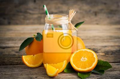 Frais, orange, jus, verre, pot