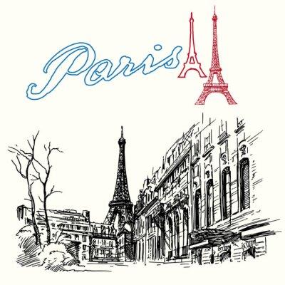 Papiers peints France, Paris - Tour Eiffel - dessiné à la main ensemble