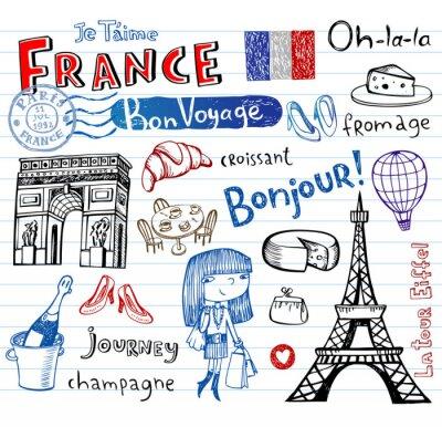 Papiers peints France symbols as funky doodles