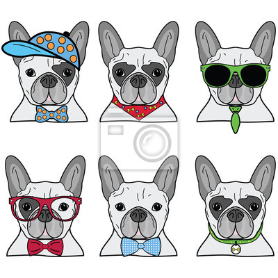 French bulldog hipsters styles icons set II