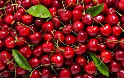 fresh cherries as background, top view