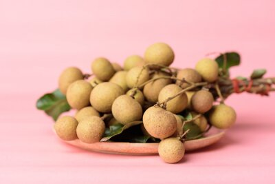 Fresh longan fruit on plate with pink pastel background, Tropical fruit