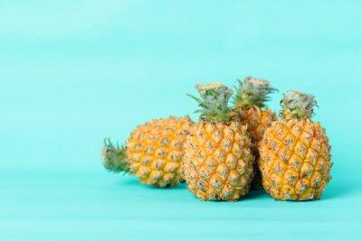 Fresh pineapple fruit on pastel green background, Tropical fruit